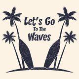 Surfing grunge typography with palm trees and surfboard. Graphics for design clothes, t-shirt, print product, apparel. Vector. Illustration Vector Illustration
