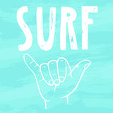 Surfing hand sign. Royalty Free Stock Photo