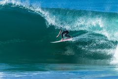 Surfing Hollow Wave Tube Ride Royalty Free Stock Photo