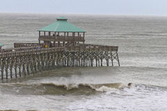 Surfing Hurricane Sandy Waves at Folly Beach Royalty Free Stock Image