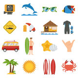 Surfing Icon Set Stock Image