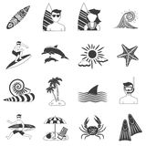 Surfing Icons Black Royalty Free Stock Photos
