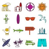 Surfing icons doodle set Royalty Free Stock Photos