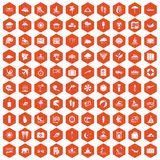100 surfing icons hexagon orange. 100 surfing icons set in orange hexagon isolated vector illustration Stock Photos