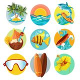 Surfing icons set Stock Image