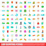 100 surfing icons set, cartoon style. 100 surfing icons set in cartoon style for any design vector illustration Royalty Free Stock Images