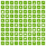 100 surfing icons set grunge green. 100 surfing icons set in grunge style green color isolated on white background vector illustration vector illustration