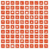 100 surfing icons set grunge orange. 100 surfing icons set in grunge style orange color isolated on white background vector illustration Vector Illustration
