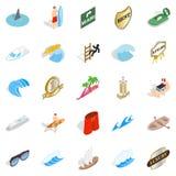 Surfing icons set, isometric style. Surfing icons set. Isometric set of 25 surfing vector icons for web isolated on white background Royalty Free Stock Photo