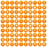 100 surfing icons set orange. 100 surfing icons set in orange circle isolated on white vector illustration Vector Illustration