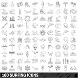 100 surfing icons set, outline style. 100 surfing icons set in outline style for any design vector illustration Stock Photography