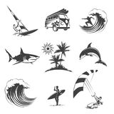 Surfing icons set Royalty Free Stock Photo