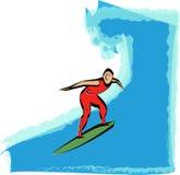 Surfing Illustration. An illustration of a surfer riding a huge wave stock illustration