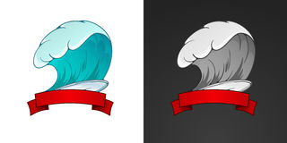 Surfing illustration and emblem with lettering. Stylized image o Royalty Free Stock Photo