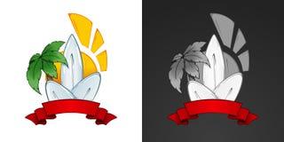 Surfing illustration and emblem. Stylized image Stock Photo
