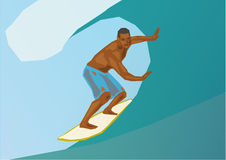 Surfing. Illustration of a surfing man, simple art for web and print design appealing for vacation and wellness theme Royalty Free Stock Photos