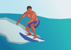 Surfing. Illustration of a surfing man, simple art for web and print design appealing for vacation and wellness theme Stock Images