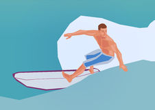 Surfing. Illustration of a surfing man, simple art for web and print design appealing for vacation and wellness theme Royalty Free Stock Image