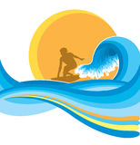 Surfing.Vector man on blue wave Royalty Free Stock Photo