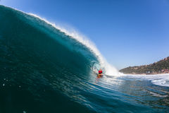 Surfing Inside Blue Hollow Crashing Wave Stock Photos