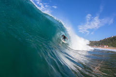 Surfing Inside Hollow Wave Royalty Free Stock Images