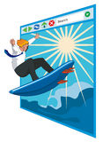Surfing the internet. Concept on surfing the internet stock illustration