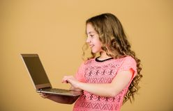 Surfing internet. Develop own blog. Personal blog. Social networks and blog. Information source. Blogging concept. Girl. With laptop computer. Little child royalty free stock photography