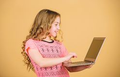Surfing internet. Develop own blog. Personal blog. Social networks and blog. Information source. Blogging concept. Girl. With laptop computer. Little child stock image