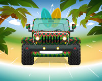 Surfing jeep on the beach. Vector illustration for your design Royalty Free Stock Image