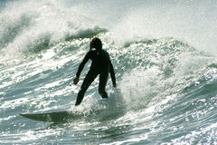Surfing kid. On the wave Stock Photo