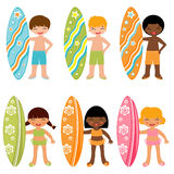 Surfing kids Stock Photography