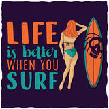 Surfing label design with illustraion of girl and surfing board for t-shirts, posters, greeting cards etc. Royalty Free Stock Photos