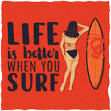 Surfing label design with illustraion of girl and surfing board for t-shirts, posters, greeting cards etc. Royalty Free Stock Image