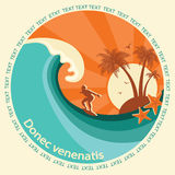 Surfing label illustration Royalty Free Stock Image