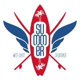 Surfing label with surfboard, palms and waves. Logo, badge, bann Royalty Free Stock Images