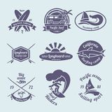 Surfing labels set Royalty Free Stock Image