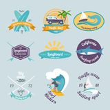 Surfing labels set Royalty Free Stock Photography