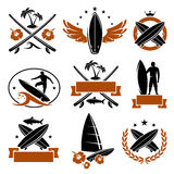 Surfing labels set. Vector Stock Photo