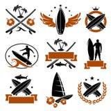 Surfing labels set. Vector. Ocean, wave stock illustration