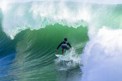 Surfing Large Waves Cyclone Stock Photography