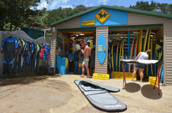 Surfing lesson in Muriwai beach - New Zealand. MURIWAI, NZL - JAN 01 2015:Muriwai surfing school.It's a very popular beach in New Zealand known for it beauty and royalty free stock photo