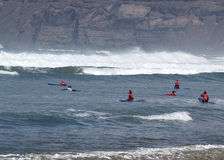 Surfing lessons, Lanzarote Famara Royalty Free Stock Image