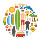 Surfing Lifestyle Elements Set Royalty Free Stock Images
