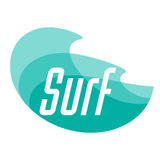 Surfing logo design. Surf and waves. Vector color illustration Royalty Free Stock Photography
