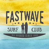 Surfing logo, label or badge on hand drawn watercolor background in vintage style. Stock Image
