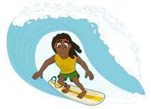 Surfing man cartoon vector illustration