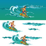 Surfing man on surfboard on sea waves Stock Photography