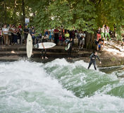 Surfing in Munich, Englischer Garten Stock Photos