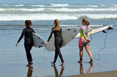 Surfing in Muriwai beach - New Zealand. MURIWAI, NZL - JAN 01 2015:Girls going to surf in Muriwai beach.It's a very popular beach in New Zealand known for it stock images