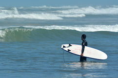 Surfing in Muriwai beach - New Zealand. MURIWAI, NZL - JAN 01 2015:A man surf in Muriwai beach.It's a very popular beach in New Zealand known for it beauty and stock photos